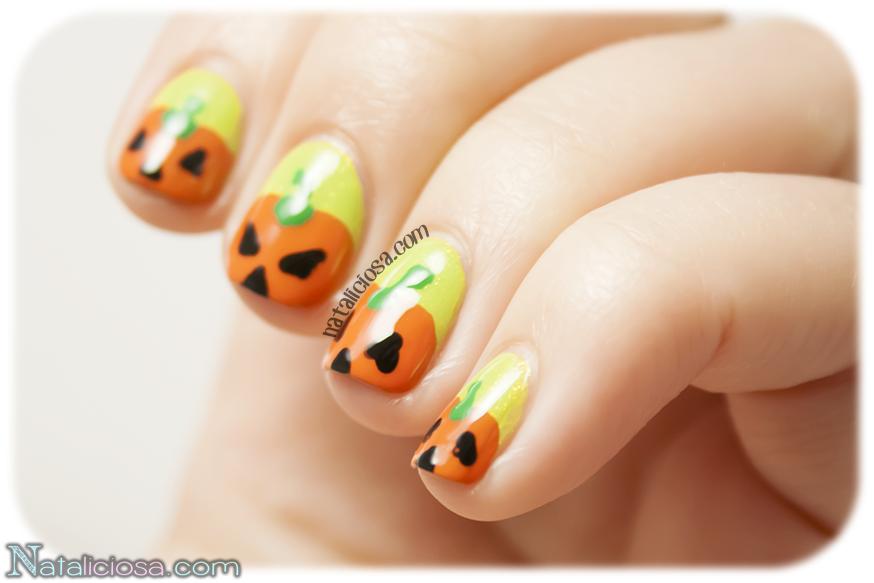 Nail art for Halloween - Diseño de uñas pintadas con calabazas para las fiestas