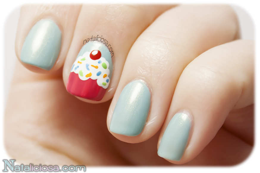 New nail art tutorial: sweet cupcake just with nail polishes, no water decals or stamping! DIY!
