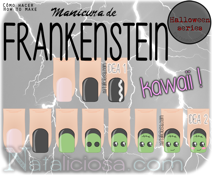 Super easy tutorial - how to make Frankie manicure / Tutorial súper fácil, cómo hacer una manicura de Frankenstein