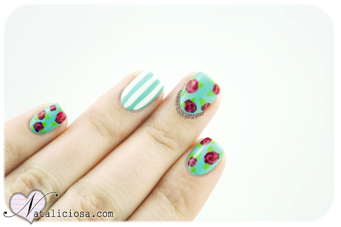 how to make vintage manicure with roses and stripes