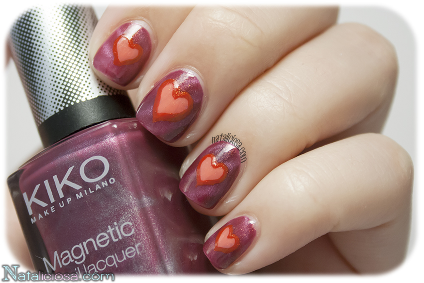 Magnetic nail art - hearts design