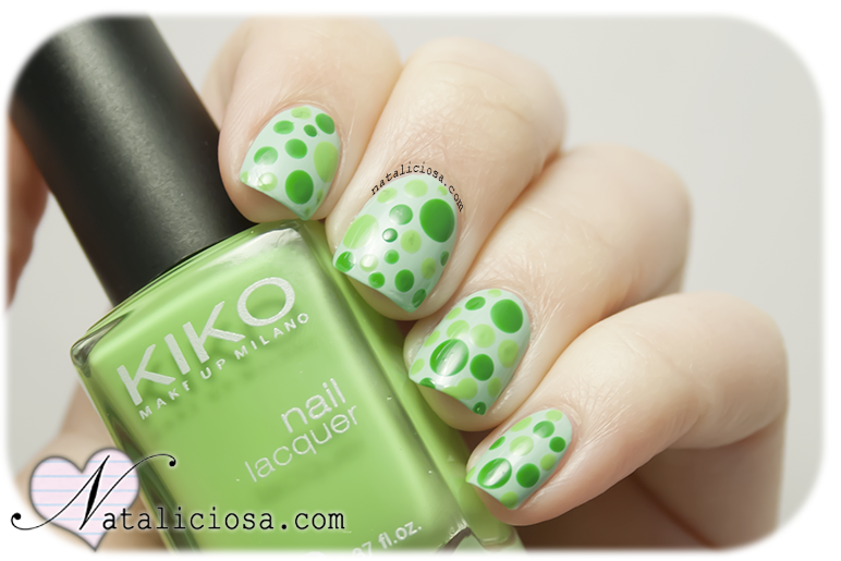 summer manicure easy and fast dots everywhere green polish